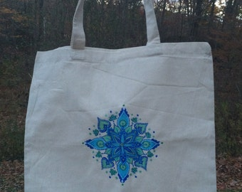 White Canvas Tote Bag with Blue & Green detailed Mandala