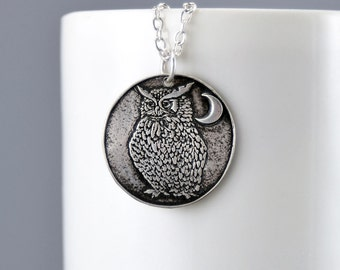 Owl Necklace Sterling Silver Wise Old Owl Pendant Silver Bird Jewelry Crecent Moon Charm Silver Owl Charm Necklace