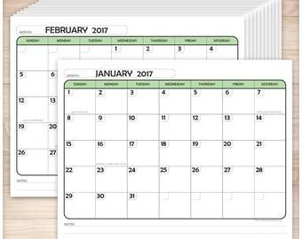 Printable 2017 Calendar PDF - Green Modern rounded design - 12 Months in 1 PDF file - Instant Download