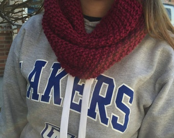 Berry Red Knit Infinity Scarf