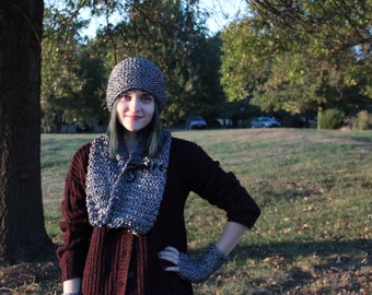 Chain Mail Inspired Metallic Silver Knitted Hat