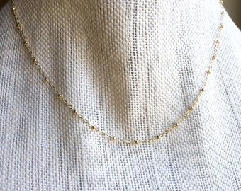 Yellow Gold Filled Chain Necklace, Gold Satellite Chain Necklace, Gold Saturn Chain Necklace, Delicate Gold Necklace, Choose Necklace Length