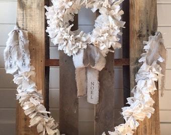 Farmhouse Cotton Rag Garland - Holiday Garland - Farmhouse Decor - Cottage Decor - Farmhouse Wedding Decor - Holiday Decor