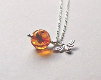 Sterling Silver and Amber Bee Necklace Gemstone Necklace Bee Pendant Gift for Her