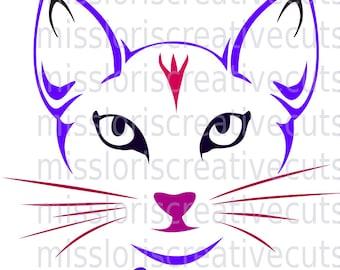 CAT Face  SVG Cut file  Cricut explore file Meowscrapbook vinyl decal wood sign cricut cameo Commercial use
