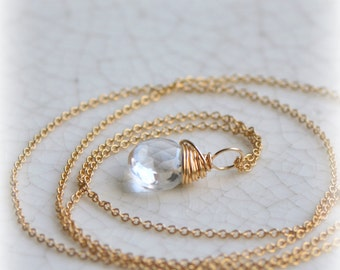 Clear Quartz Necklace, April Birthstone Jewelry, Rock Crystal Necklace, Simple Quartz Necklace in Gold, Gift Pendant, Handmade by Blissaria