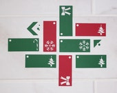 Set of 12 Christmas Gift Tags - Red and Green options - Holiday Cheer designs