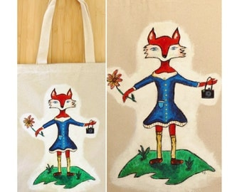 Hand painted Fox tote bag