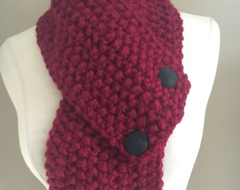 Knitted Cozy Bulky Red Cowl Neck Warmer Handmade Accessories Ready To Ship