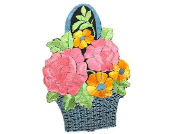 Antique Applique, flower basket applique, 1930s vintage embroidered applique. Vintage floral patch, sewing supply. #648G101K1