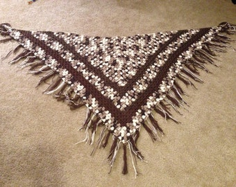 Granny Square Triangle Shawl with Fringe (Brown)