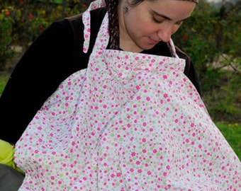 Nursing Cover |  Breastfeeding Cover Up | 100% Cotton Nursing Cover | Boned Neck Nursing Cover | Baby Shower Gift | Pink/Green Floral