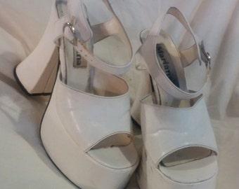 White monster platform sandals, 90s Rocker