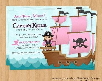 Girl's Pirate Buccaneer Birthday Invitation, Ahoy Matey Party Invite - Printable, Digital, Ocean Waves, Pirate, Ship, Treasure Hunt, Captain