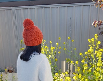 Chunky Pom Pom Beanie - Cable Knit Beanie - Pom Pom Hat - Orange / mandarin / Autumn / Colour Winter / Warm / Cozy / Fashion /