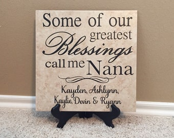 Grandma Gift, Personalized Tile, Nana gift, Gifts for Nana,  Great Grandma Gift, Grandma to be, Gigi Gift, Gifts for Gigi, Gigi Sign, 12X12