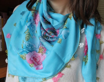 Blue spring scarf, Lightweight traditional scarf, Authentic handmade shawl, Boho chic, Oya yemeni yazma, Mothers day gifts, gifts for her