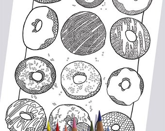 KNIT DONUTS Coloring Page / Printable Coloring Page / Drawing of Knitting / PDF Donut Art
