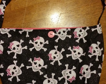 Handmade Girly Glam Skull Purse