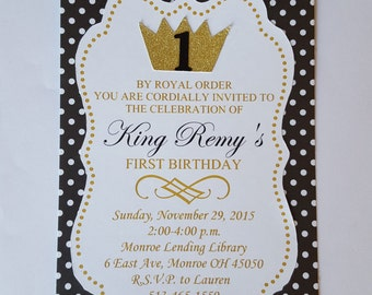 Crown Invitation (12), King for a Day Invitation, First Birthday Invitation, Gold Crown Birthday, King Birthday