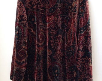 Soft Velvet Paisley Patterned Bohemian Earth Coloured Ladies Top Size: S/M