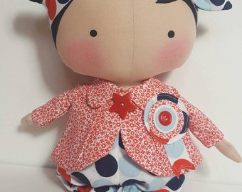 Tilda Sweetheart doll, Handmade cloth doll, gift for girls, removable clothes, Christmas gift for girl, cloth doll with painted hair,