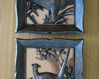 Pheasant & Duck Wall Hanging, Set of 2, Coppercraft Guild, Vintage