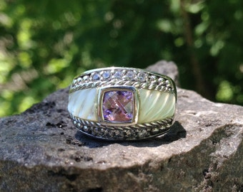 Sterling Silver Judith Ripka Ring – Designer Ring – Mother of Pearl Ring – Inlay Ring – Pink Stone  – Judith Ripka - WhistlingGypsyVTG