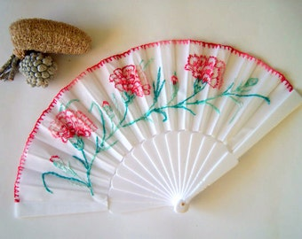 Hand embroidered fan. Fabric fan with plastic handle.Flowers pattern fan.White or black fan.Personalized fan (for example: a date,a name )