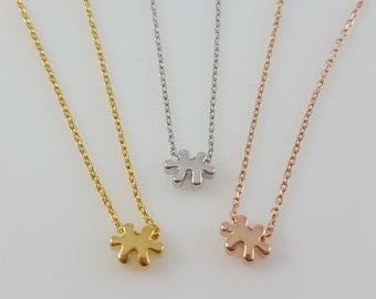 Autism Necklace Puzzle Piece Necklace Special Autism Awareness Mother Teacher Gift Love Custom Tiny Minimal Charm Gold Silver Rose Gold