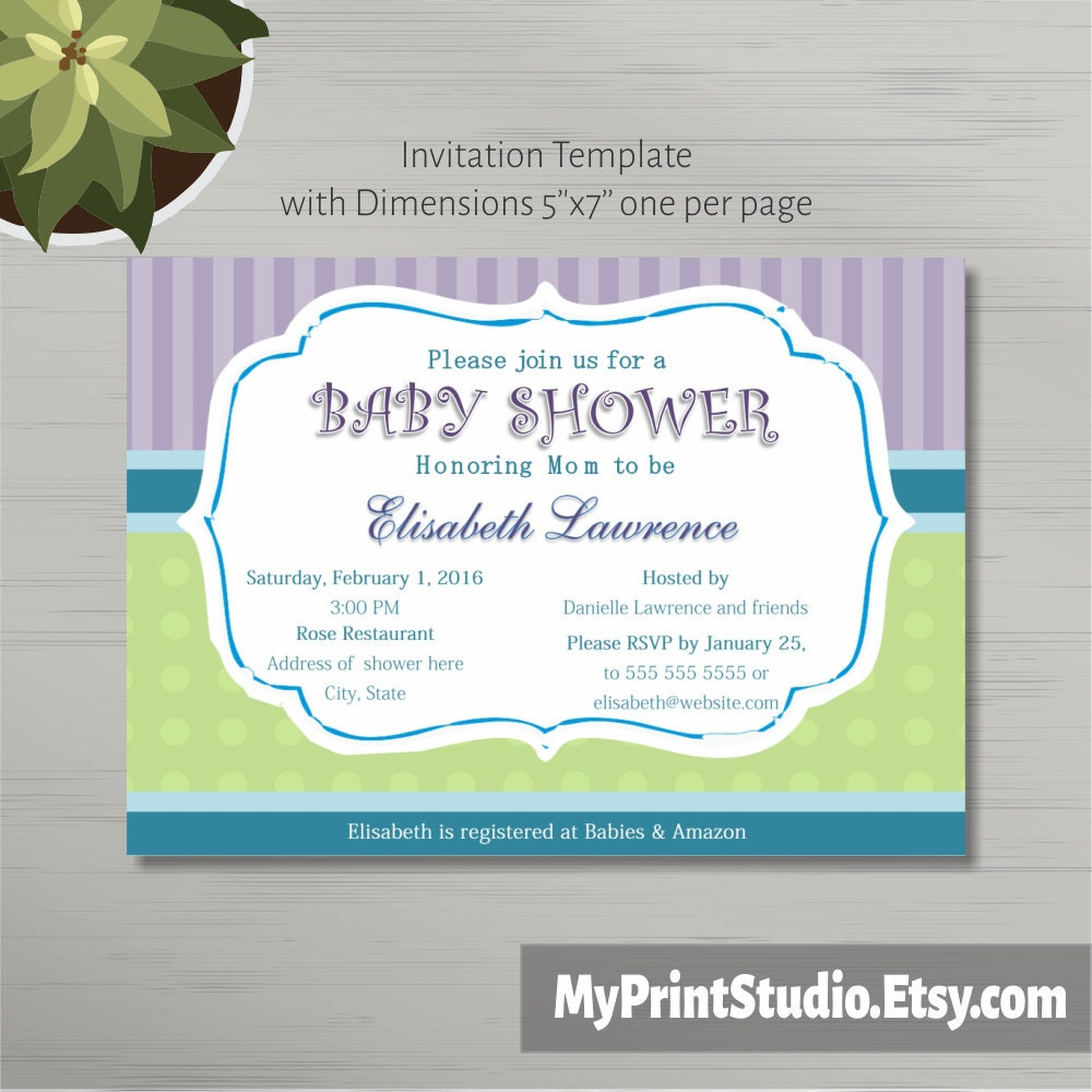 Printable Baby Shower Invitation Template In MS Word Boy/Girl