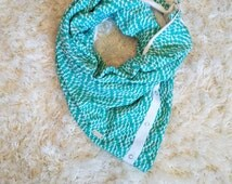 Teal White Reverse Waters Yoga Multi Way Infinity Scarf Silver Snaps Women Reversible Active Wear