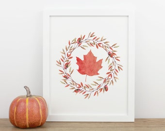Fall Print, Autumn Leaves, 8x10 Printable Art, Instant Download, Leaf Autumn Decor, Seasonal Decorations, Wreath Digital Poster