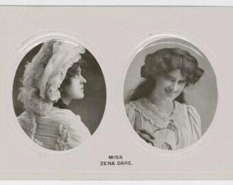 Edwardian postcard, Zena Dare, musical comedy actress, RPPC, 1909, real photograph postcard, Davidson, theatre, stage, antique card