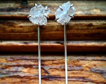 Raw Quartz Crystal Sterling Silver Thread Earrings  Threaders Silver Threaders Raw Quartz Crystal Quartz Thread Earrings Drop Threads