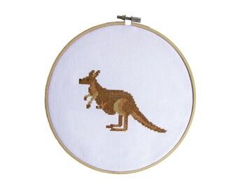 Mama Kangaroo - Modern cross stitch pattern PDF - Instant dowload