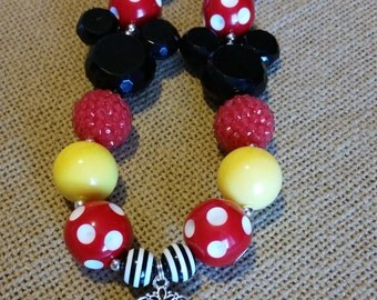Colorful chunky bead necklace with Mickey Mouse pendant