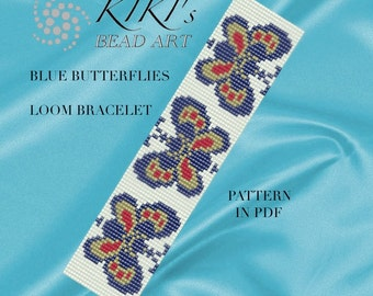 Bead loom pattern - Blue butterflies LOOM bracelet PDF pattern instant download