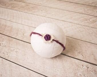 Newborn Mohair Tieback. Purple Tieback, Photo Prop, Baby Headband, Newborn Headband