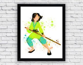 Princess Mulan watercolor print, Princess Mulan Wall Art, Princess Mulan poster, Nursery Decor, Baby Boy Nursery