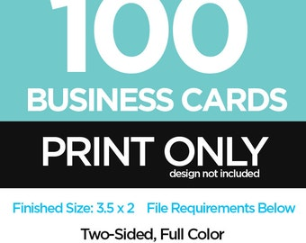 100 Full Color Two Sided Standard Business Cards PRINTED - Print Shop - Business Card Prints