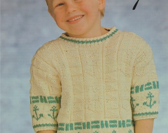 7459103e30a69 Boys Knitting Pattern K3710 Childrens Long Sleeve Hooded Jumper with ...