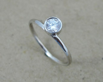 Diamond Engagement Ring, Diamond Promise Ring, Simple Diamond Ring, Dainty Diamond Ring, Minimalist Diamond Ring, Diamond Stacking Ring