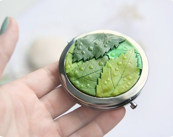 Vegan gift for her Spring accessories Makeup compact mirror Fresh greenery wedding leaves accessories Novelty accessories Greenery kale gift