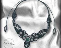 Blue macrame necklace, futuristic necklace, cabochon necklace, macrame jewelry, futuristic jewelry, gift woman, necklace spring summer.
