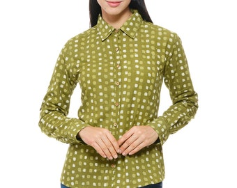 Dabu Hand block printed Shirt in Olive Green colour
