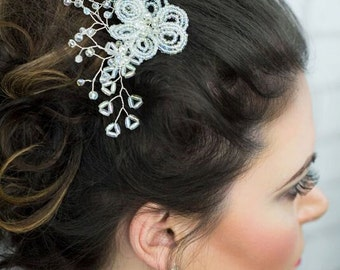 Hair comb/handmade accessories/ jewelry/wedding hair accessory/bridal hair/hair comb/jewelry comb/sea beads flower/crystals