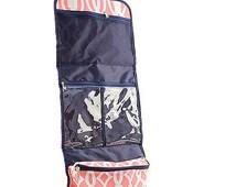 Monogrammed Coral Vine Hanging Toiletry/Cosmetic Bag-Monogram Toiletry Bag-Personalized Hanging Toiletry-Personalized Hanging Cosmetic