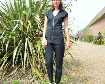 Handmade Utility Jumpsuit, Boilersuit, Workwear, Zip Fastening Made in 100% Organic Cotton