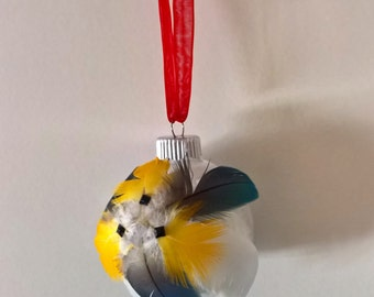 Handmade feather ornament